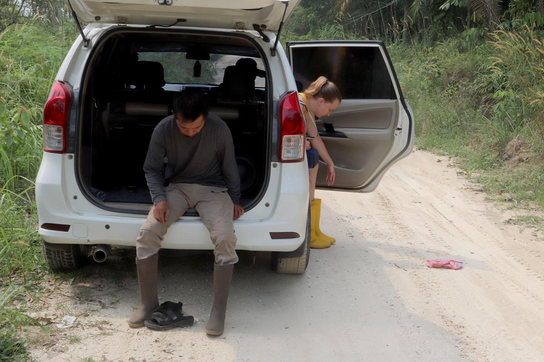 Наш проводник Вилли Янсен (Welly Yansen) и Елизавета Фурсенко готовятся выйти хоть и в искуственный, но все же тропический лес.  Поверьте, что на Экваторе даже на плантациях масличных пальм есть, о что серьезно оцарапать ноги, поэтому резиновые сапоги никогда не будут излишни.