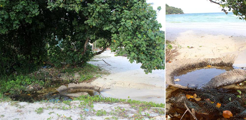 Ручей обрывался в нескольких метрах от береговой линии. Дальше вода просачивается в море сквозь песок, а скорость водяного потока и глубина ручья находятся в зависимости от приливно-отливных явлений.