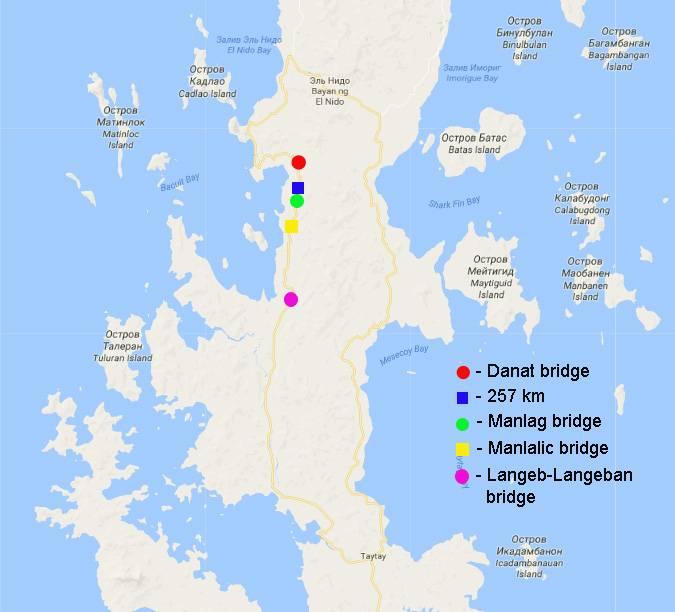 Карта северной части острова Палаван с указанием мест локализации исследованных водоемов.